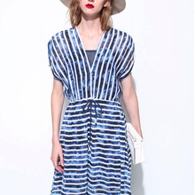 2016 summer latest designs light soft free prom striped dress fashion women holiday traveling wear