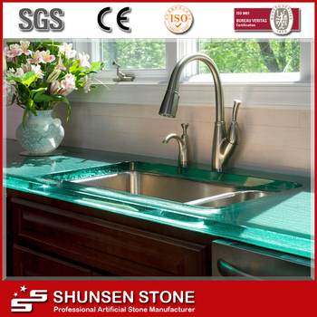 Jumbo size synthetic jade glass kitchen countertops and for Synthetic countertop materials