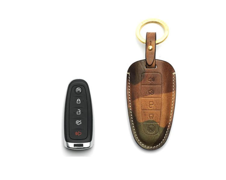 Custom Design Leather Remote Key Case Holder Cover Ford ...