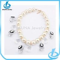 Wholesale charm white stone cameo latest design pearl necklace