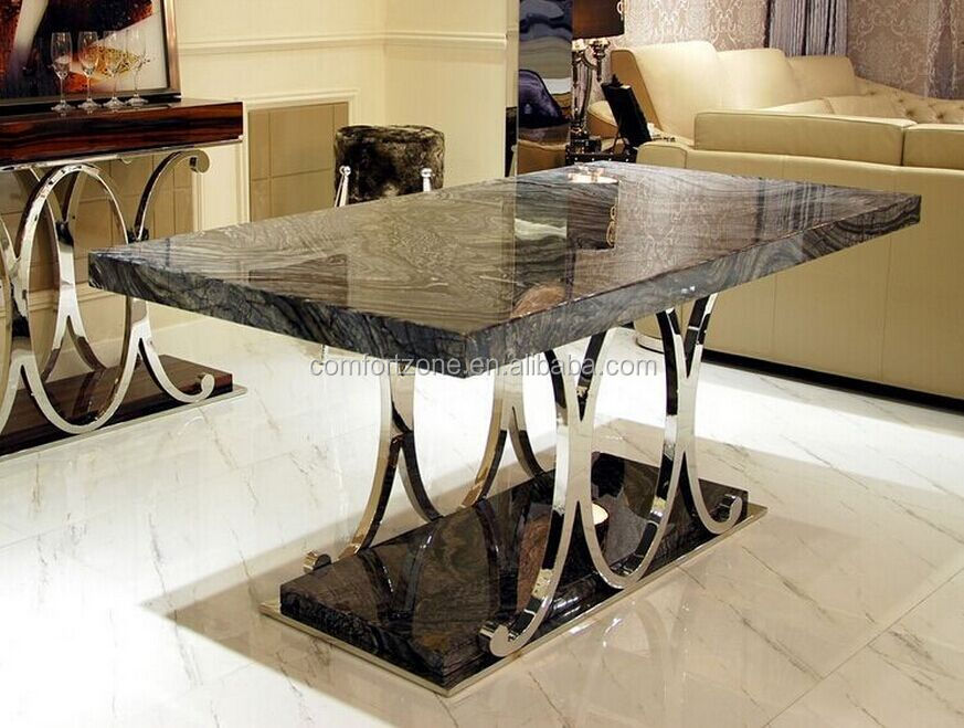 A8070 antique modern design dining table with stainless for Dining table frame design