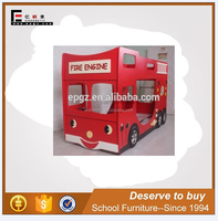 Kid fire engine car single dormitory bed, children furniture dormitory wooden bed, factory fire truck beds