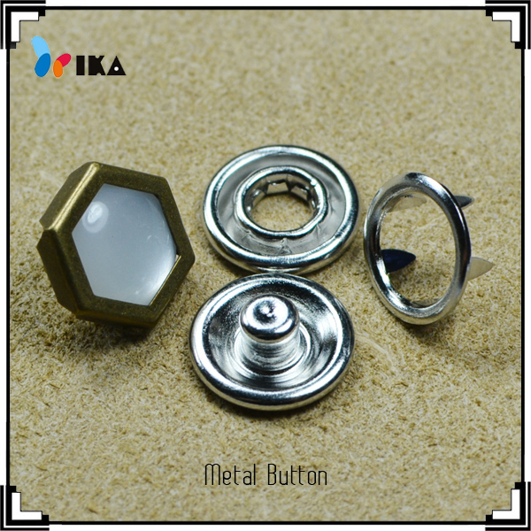 diamond resin pearl metal prong snap button