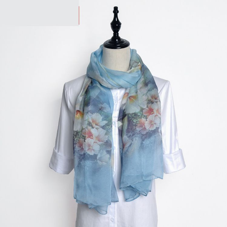 Summer 2017 trend good quality digital print butterfly and flower pattern 100% silk long scarf shawl