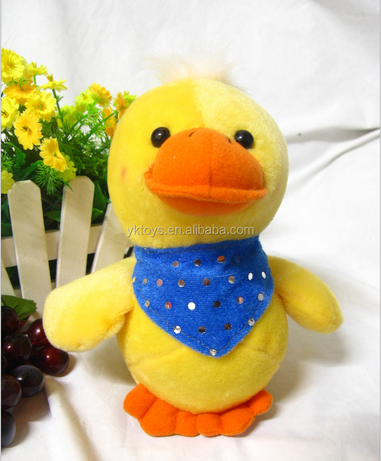 Furry little yellow duck stuffed toy and doll