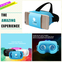 Latest Design Strap Adjustable 96 degree view angle coloful 3D vr glasses mini vr case for 4.5~5.5 inch smart phones