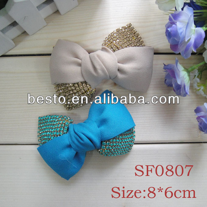 SF0807 Regal knotted fabric rhinestone bow shoe ornaments for women shoes