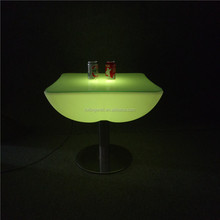 China Supplier LED Light Bar Furniture 62*62*56cm LED Illuminated Low Table with Round Glass Top