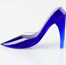 2017 blue crystal glass low heel wedding shoes wholesale china