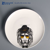 Creative Picture Animal Style Ceramic Plate Printing, Porcelain Decorative Tableware
