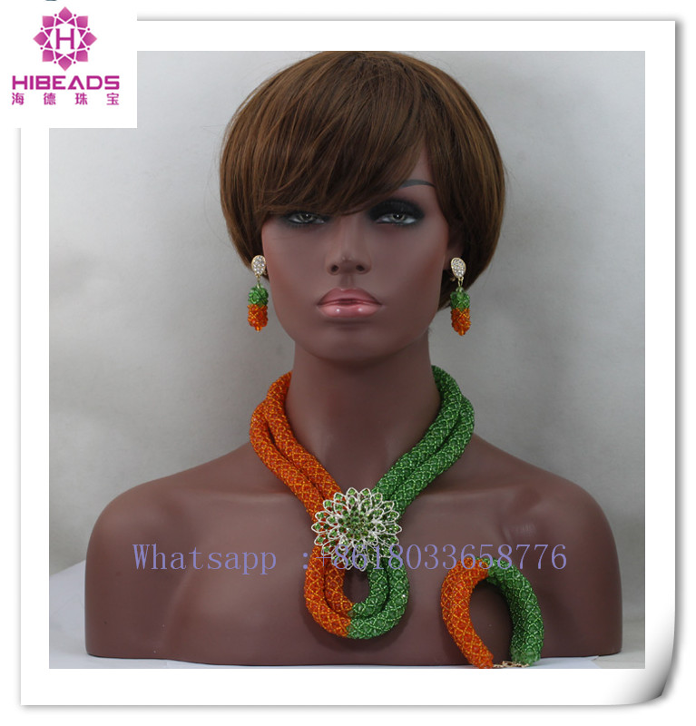 Mix <strong>Orange</strong>/Green Nigerian African Necklace Wedding Jewelry Set Crystal Bridal Braid Beaded Jewelry Set Free shipping