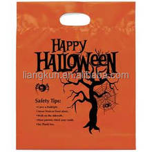 Die cut bag for shopping orange plastic bags