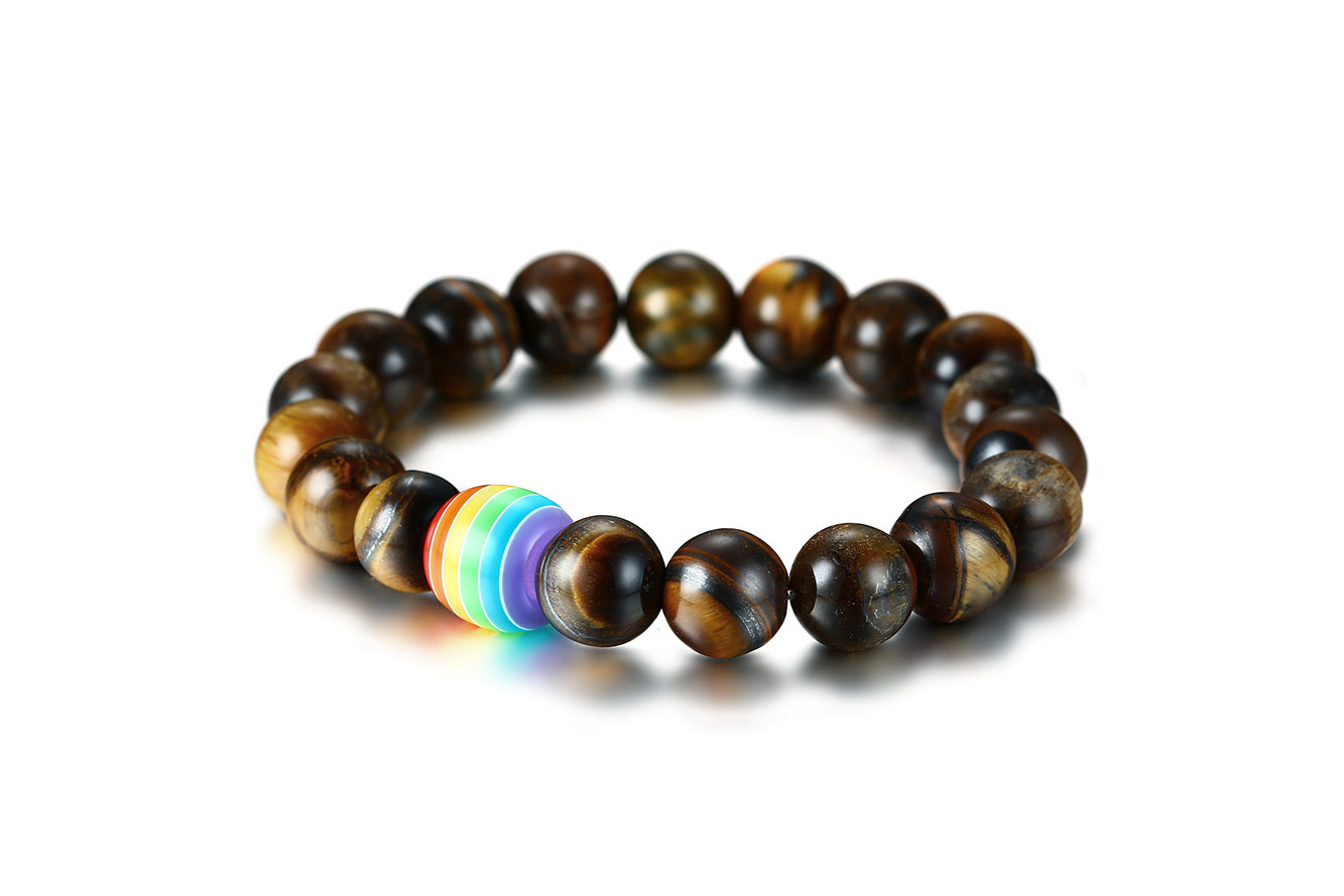 Custom tiger eye beaded bracelet rainbow stone bracelet