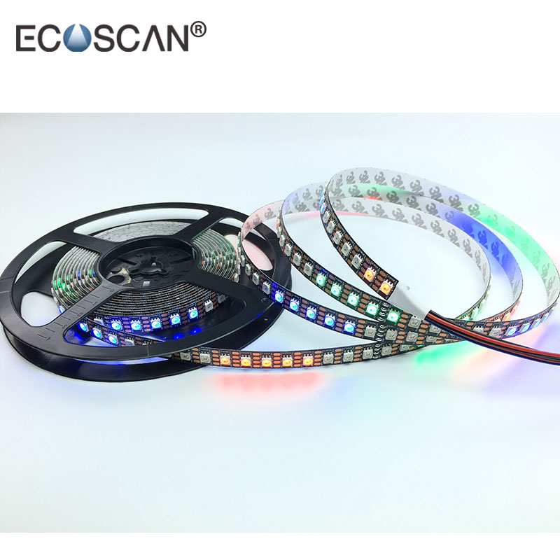 Outdoor LED Strip Lights Waterproof RGB 5050, WS2813 RGB Addressable Flexible Pixel Dream Color 5V White PCB LED Strip