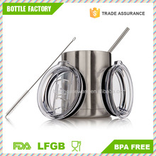 Stainless Steel Double Wall Coffee Mug Vacuum Insulated Travel Cup BPA Free With Lid & Straw