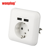 Wonplug Guangzhou Factory Directly Wholesale the socket with dual USB European wall socket