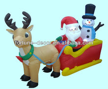 inflatable Christmas decoration sleigh with santa and snowman