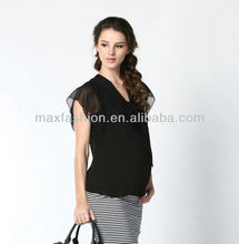 Name brand black women tops blouse 2013 new design