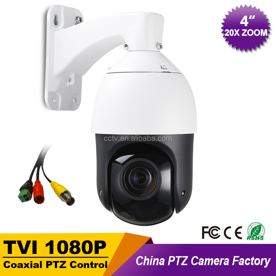 "CCTV IP66 Outdoor Security 4"" MINI High Speed Dome TVI 1080P PTZ Camera 2.0MP 20X Zoom Auto Focus IR 100M Coaxial PTZ Control"