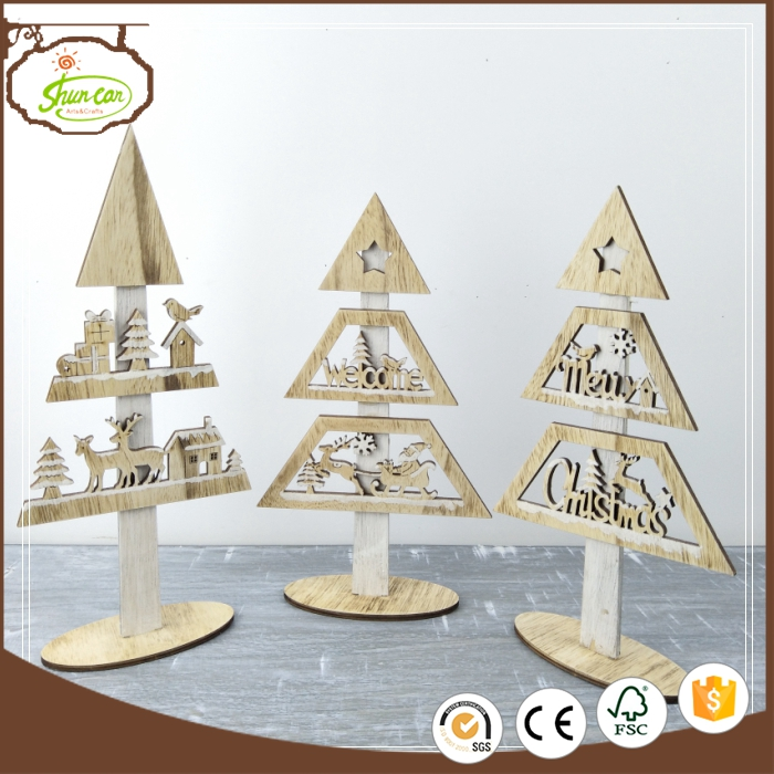 New design laser cutting xmas decor wooden home decor with great price