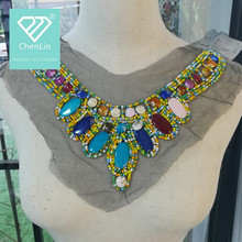 beaded neck appliques blouse collar neck design for making clothes or dress