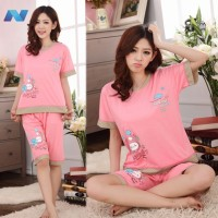 Women Sweet Balloon Pattern Pajamas Set Short Sleeve Top + Short Pants Sleepwear Home Wear