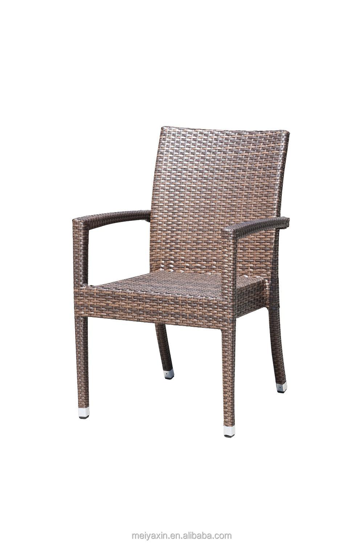PE Rattan Metal Stackable Dining Outdoor Wicker Chairs