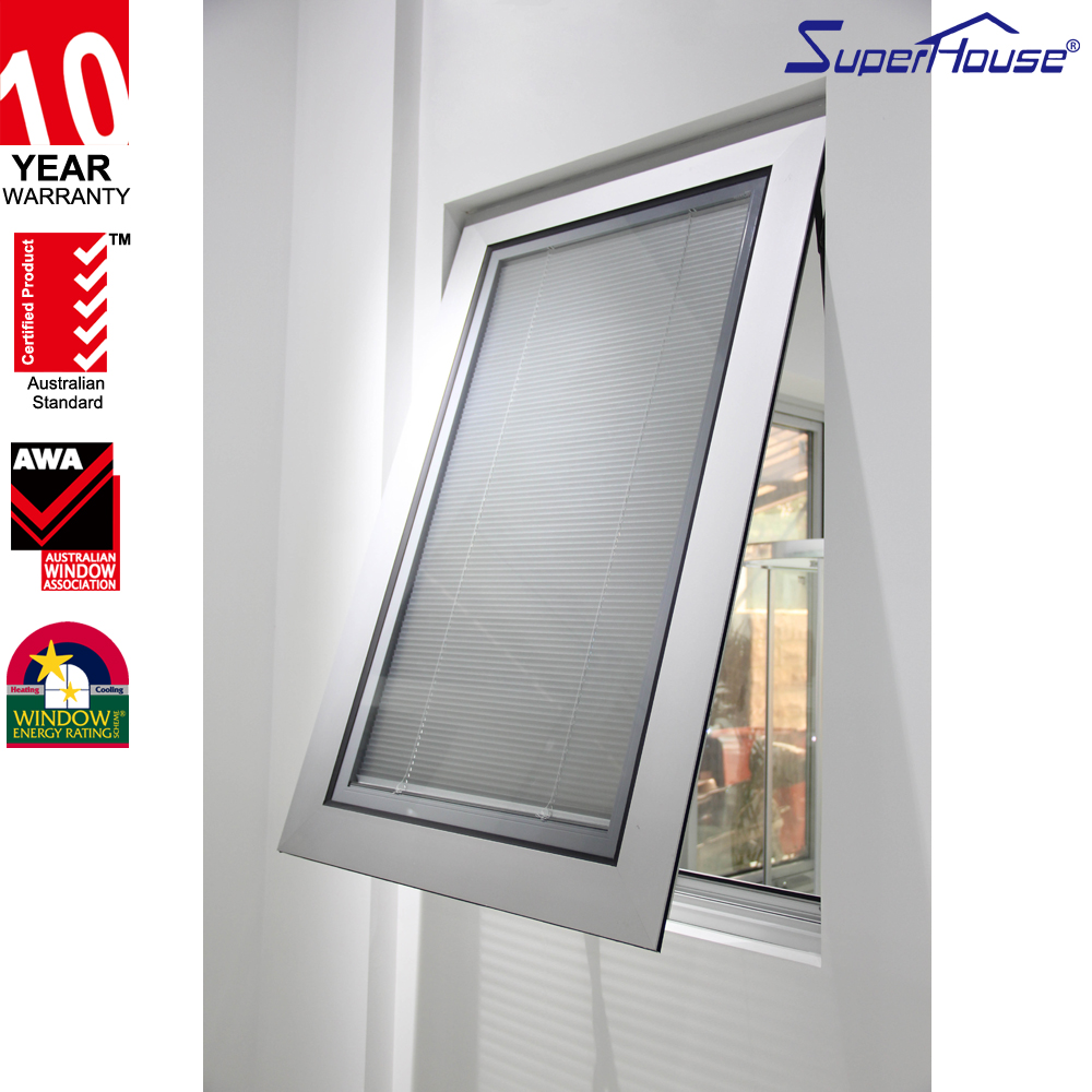 American style aluminium crank awning window with adjustable blinds