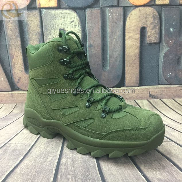 2016.high quality leather low ankle green military boots