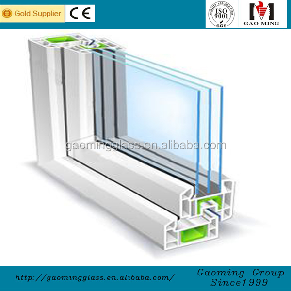 Gaoming triple glazed insulated units glass for curtain wall, skylight, sunroom, glass house, glass wall