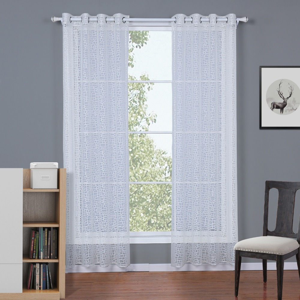 BBJ Burnt-out Grid Window Screening Sheer Curtains White Perspective Curtains