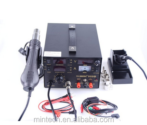 Soldering iron+Hot Air Gun+Power Supply 220V SAIKE 909D Soldering/Hot air gun rework station 3 in 1