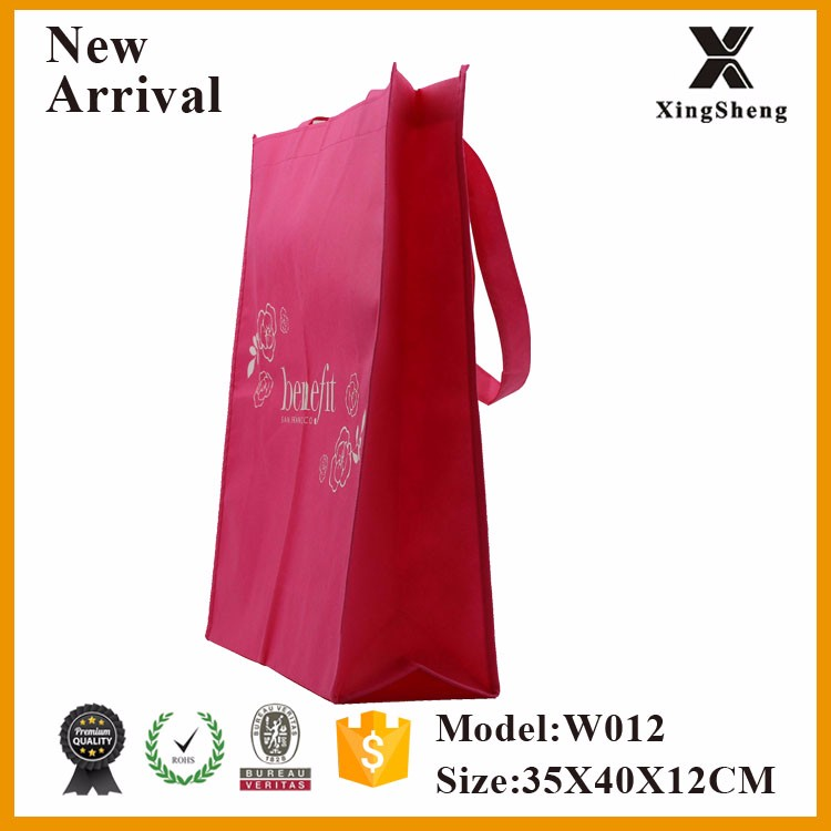China bag factory wholesale custom silk print non woven pink shopping bags