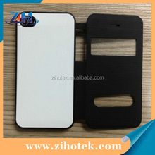 Sublimation flip leather cover phone case for iphone 4/4s with window opend