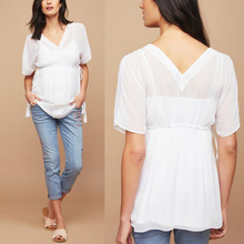 White chiffon V neck pregnant women blouse for summer