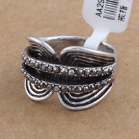Antique Silver Color Korea Style Fashion Alloy Rhinestone Rings SP-JZ-64180 Men Thumb Finger Ring Men