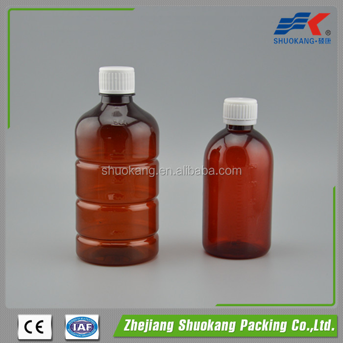 250ml 500ml round shape amber PET plastic bottle used for liquid medicine