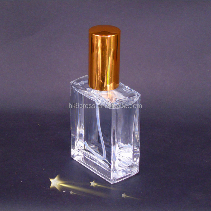 Unique 15ml 30ml 50ml Spray glass crystal square perfume bottle with gloden spray