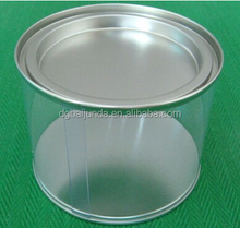 Clear plastic cylinder with metal tin lid, plastic bucket