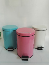 Top Sale Lovely Pink Powder Coating Soft Close Foot Pedal Waste Bin For Home