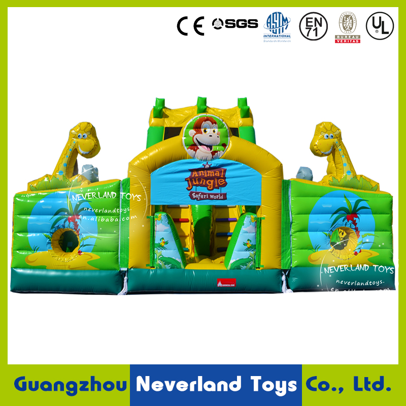 NEVERLAND TOYS Inflatable Jungle Pass Through Obstacles Course Combo Inflatable Slide Combo Inflatable Bouncer Combo for sale