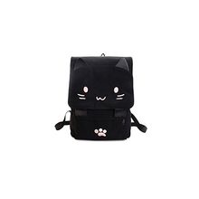 Japanese Cute Canvas Black 3D Cat School Girls Backpack