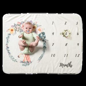 Hot Sale Flannel Fleece Monthly Milestone Baby Blanket