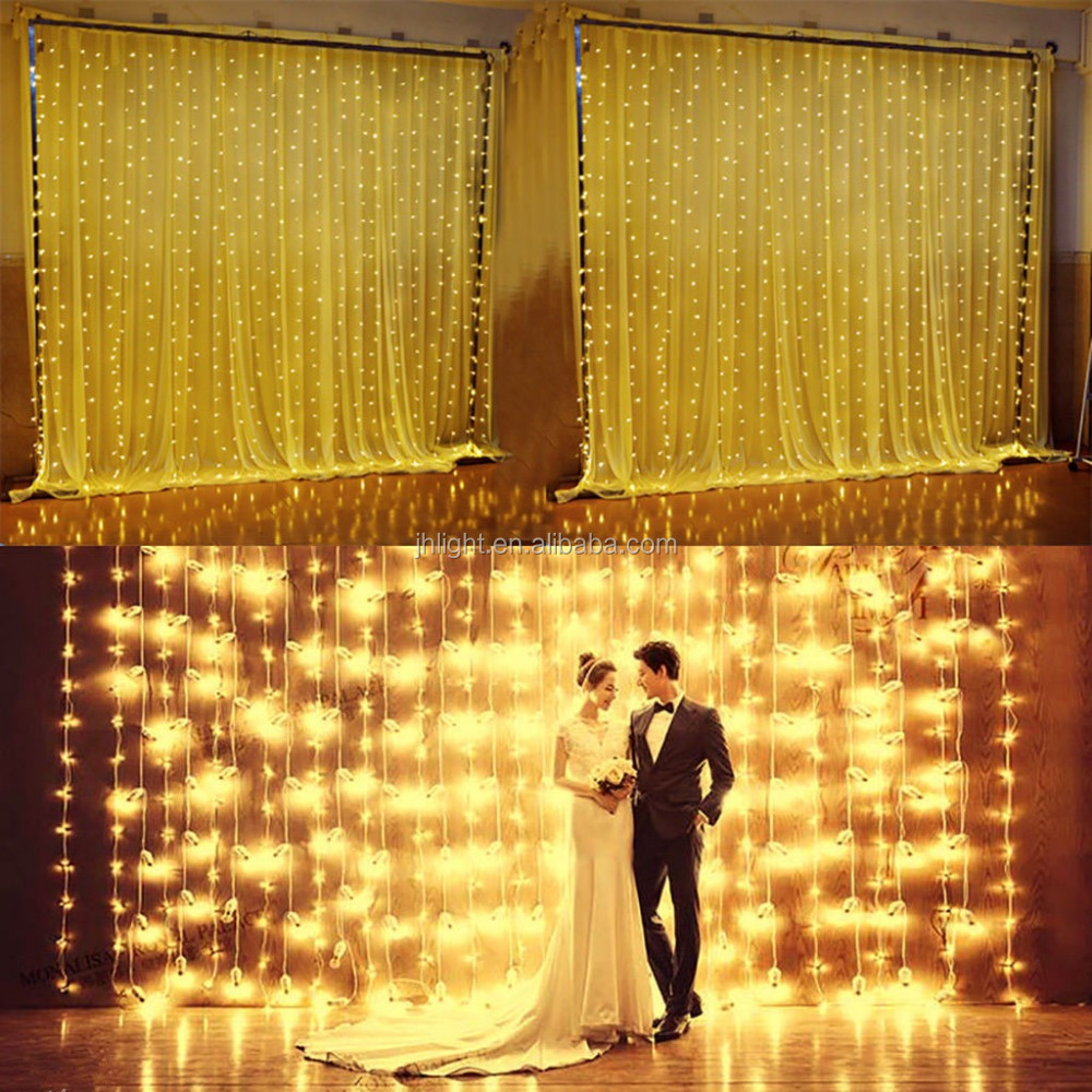New product 2016 Linhai JH 6Mx3M 600 Warm White LED Fairy Curtain String Light Xmas Wedding Party Lights