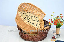 Wicker Pet Basket with Navy Pillow Woven Dog Basket and Bed Special and Warm Pet House