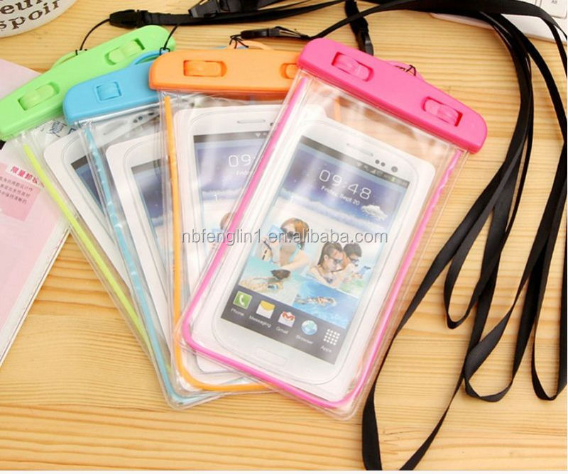 4.5 to 6 inch Universal PVC Fluorescent Light waterproof case for alcatel phone tote bag phone raincoat