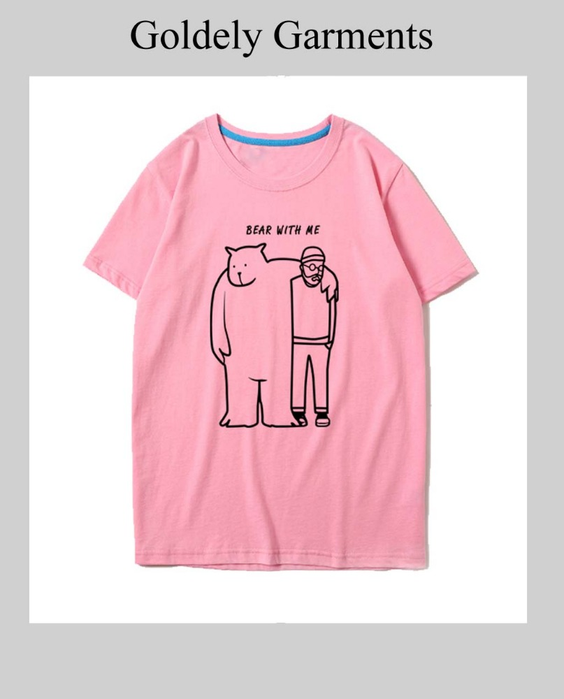 New fashion bear with me print for youth charactered short sleeve T-shirt