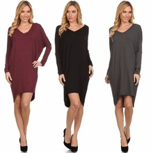 Autumn Woman Long sleeve V neck Loose Bat-wing dresses
