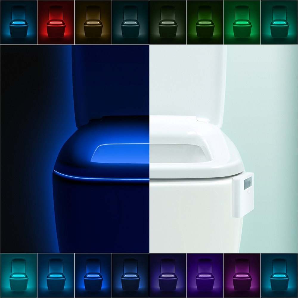 Advanced 16-Color Motion Sensor LED Toilet Light, Internal Memory, Light Detection