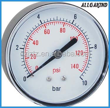 Y63ZA Plastic Pessure Gauge back mount manometer brass connection